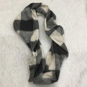 Loft black plaid infinity acrylic scarf